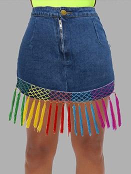 Colorful Tassel High Waist Denim Skirt