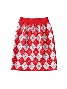 Fashion Plaid Knitted Women Pencil Skirt