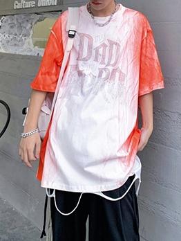 Gradient Color Rhinestone Letter T Shirt