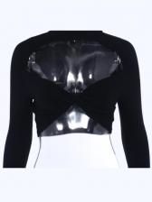 Mock Neck Hollow Out Crop T-Shirt For Women