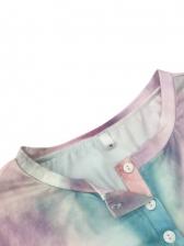 Casual Tie Dye Loose Short Sleeve Dress