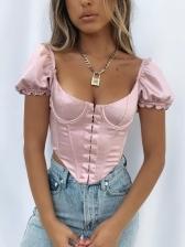 Scoop Neck Short Sleeve Blouses For Women