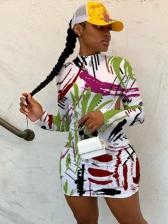 Fashion Graffiti Print Backless Long Sleeve Dress