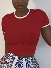 Short Sleeve Contrast Trim Slim Fit T Shirts