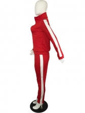 Contrast Color Stand Collar Zipper Up Tracksuit Set