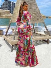 Summer Long Sleeve Printed Slit Tank Bikini
