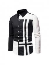 Color Block Long Sleeve Men Button Down Shirt