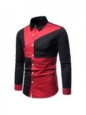 Trendy Contrast Color Men Button Up Shirts