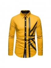 Euro Long Sleeve Men Turn-Down Collar Shirt
