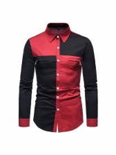 Stylish Long Sleeve Color Block Button Up Shirts