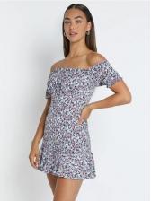 Retro Printed Off Shoulder Short Sleeve Dress