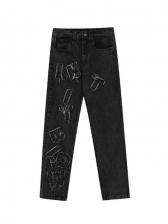 Retro Letter Printed Straight Leg Jeans