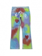 Colorful Heart Printed Mens Designer Jeans