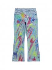 Hip Pop Colorful Graffiti Men Bell Bottom Jeans