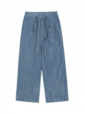 Loose Wide Leg Solid Men Corduroy Pants