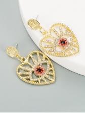 Full Rhinestone Hollow Out Eyes Design Heart Earrings
