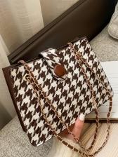 Vintage Houndstooth Chain Ladies Shoulder Bag