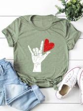Popular Heart Print Pullover Tee Loose