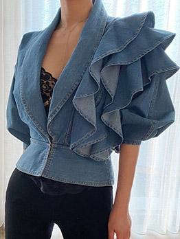 Chic Ruffled Design Long Sleeve Denim Blouse