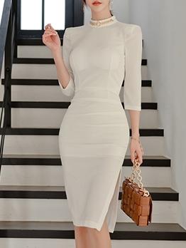 Pure Color Slit Bodycon Elegant Dresses