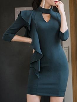 Keyhole Ruffled Long Sleeve Bodycon Dress