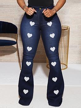 High Waist Fitted Denim Heart Design Jeans Women