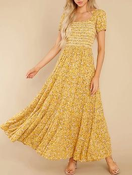 Square Neck Printed Short Sleeve Maxi Dress