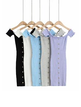 New Solid Knitting Stringy Selvedge Short Sleeve Dress