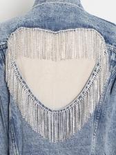 Boutique Hollow Out Rhinestone Tassel Denim Jacket