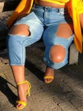 Streetwear Holes Solid Color Plus Size Jeans