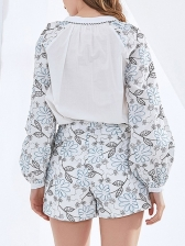 Boutique Printed Blouse With Wide Leg Short Pants