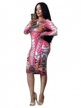 Trendy Printed Women Long Sleeve Bodycon Dress