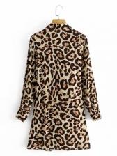 Font Tied Leopard Shirt Dresses For Women