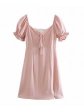 Chic Square Neck Puff Short Sleeve Ladies Dress