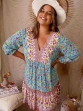 Loose Printed V Neck Women Long Sleeve Dress