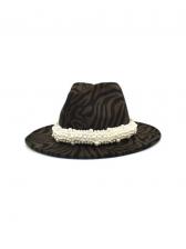 Faux-Pearl Zebra-Stripe Vintage Fedora Hat