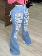 Hollow Out Plus Size Bootcut Denim Jeans