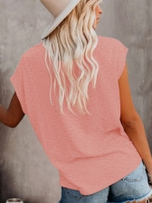 Solid Simple Casual Women T-Shirt