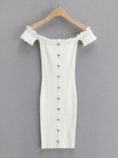 New Solid Knitting Stringy Selvedge Short Sleeve Dress