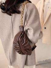 Casual Solid Ruched Cross Shoulder Bag