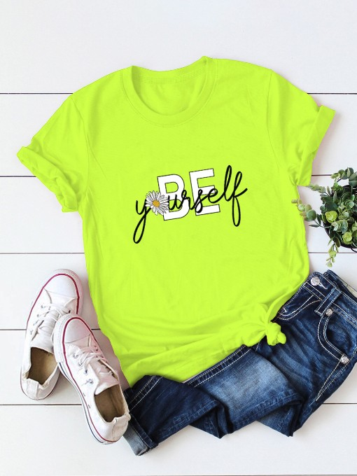 Summer Letter Daisy Print Ladies T Shirts