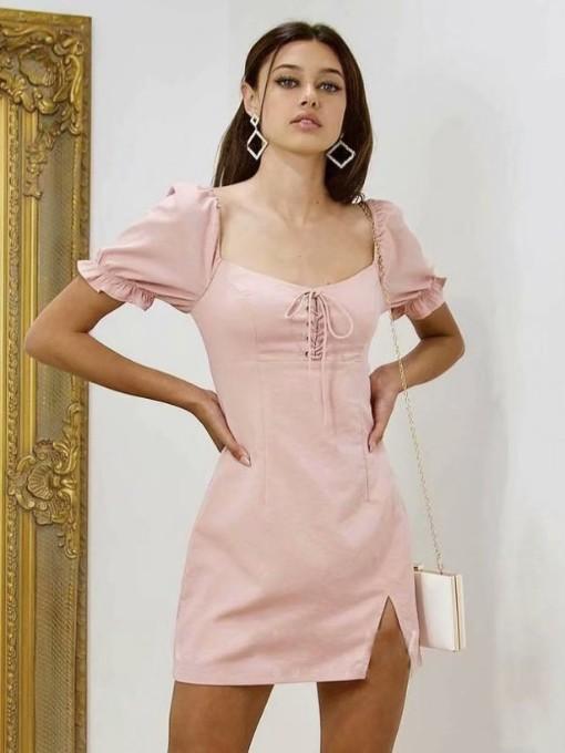 Chic Square Neck Slit Short Sleeve Summer Dresses