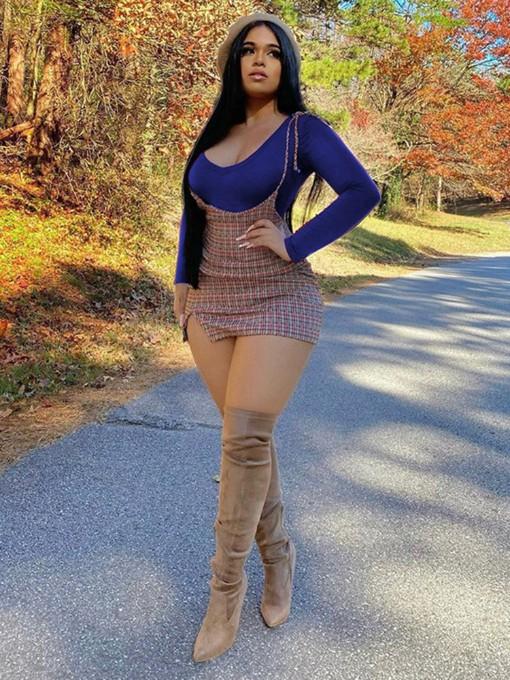 Sexy Plaid Dress Long Sleeve T-Shirt Sets
