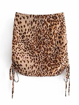 New Leopard Drawstring Mini Skirt