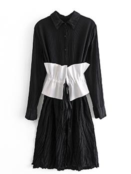 Fashion Contrast Color Long Sleeve Dress