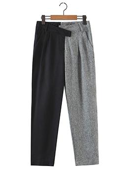 High Waist Contrast Color Straight Pants