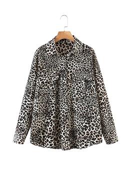 New Leopard Turndown Collar Loose Blouse