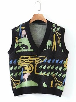 Vintage Contrast Color V Neck Sweater