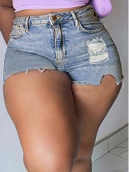Trendy High Waist Denim Hot Pants