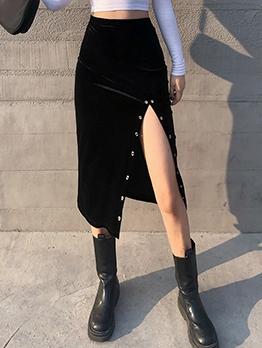 Metal Decor Velvet High Waisted Skirt